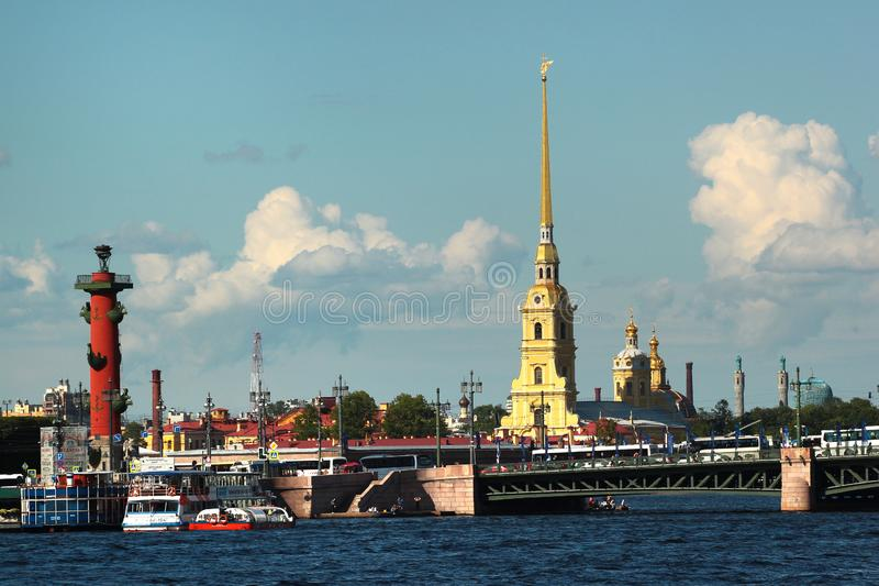 View of Neva river, Peter and Paul Fortress in Saint Petersburg, Russia stock images