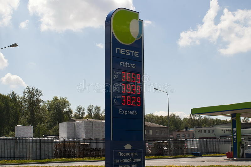 Saint Petersburg, Russia - 06, June, 2017. Bulletin Board with the prices of gasoline and diesel fuel at the gas station Neste stock photo