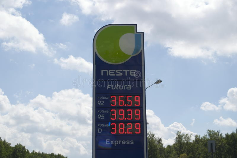 Saint Petersburg, Russia - 06, June, 2017. The price of gasoline and diesel fuel at the gas station Neste in rubles royalty free stock photo