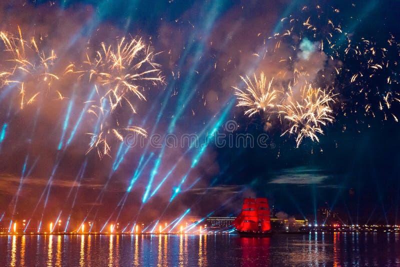 Saint-Petersburg, Russia-June 23,2018 Swedish brig Tre Krunur on stock photo