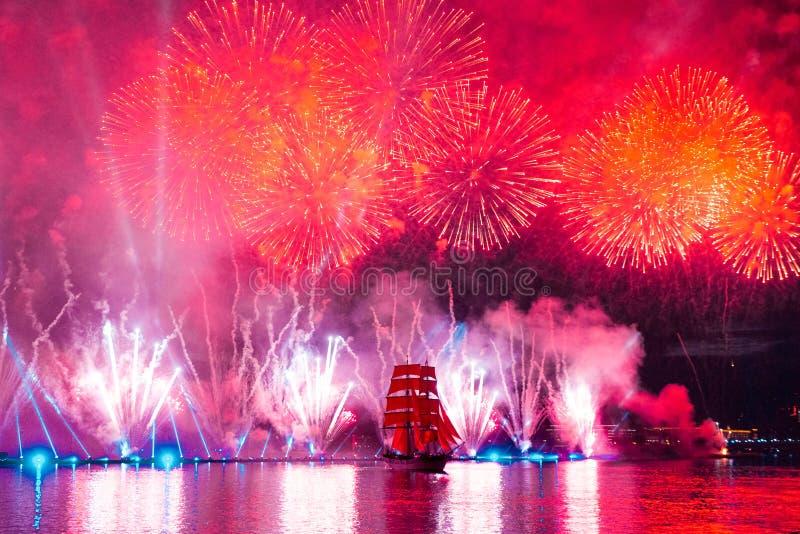 Saint-Petersburg, Russia-June 23,2018 Swedish brig Tre Krunur on stock photos