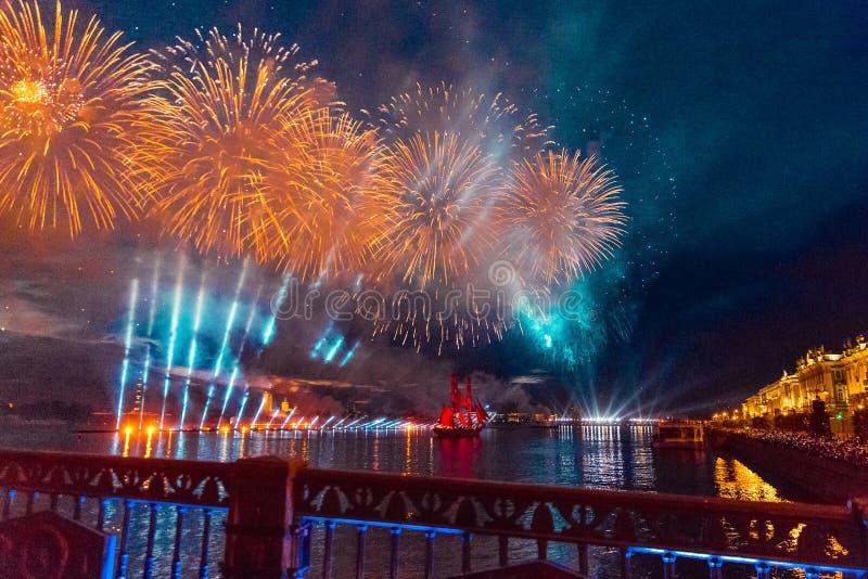Saint-Petersburg, Russia-June 23,2018 Swedish brig Tre Krunur on stock images
