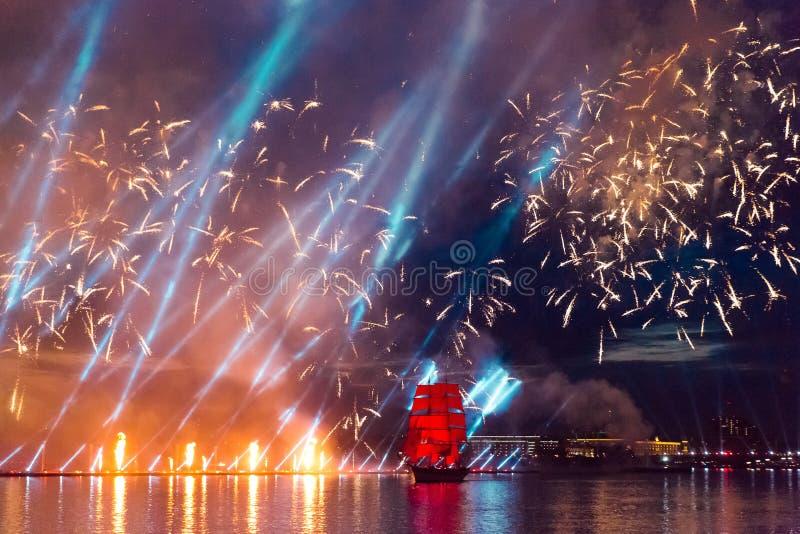 Saint-Petersburg, Russia-June 23,2018 Swedish brig Tre Krunur on royalty free stock photography