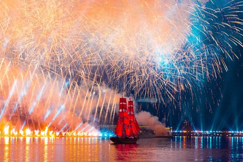 Saint-Petersburg, Russia-June 23,2018 Swedish brig Tre Krunur on stock image