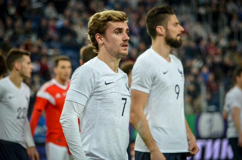 SAINT PETERSBURG, RUSSIA - March 27, 2018: Antoine Griezmann during a friendly match between national team Russia and France in S stock images