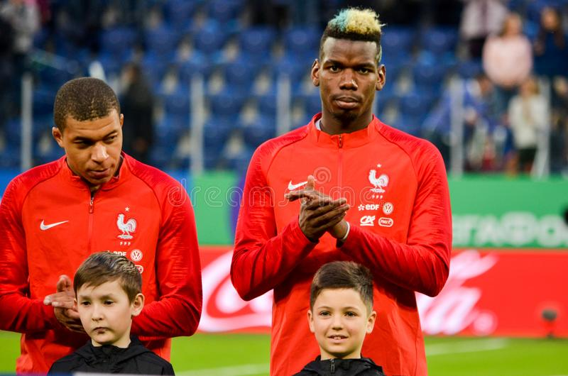 SAINT PETERSBURG, RUSSIA - March 27, 2018: Paul Pogba during a f stock photography