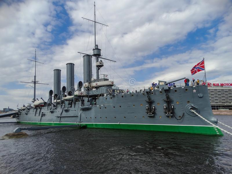 Aurora protected cruiser, Saint Petersburg, Russia royalty free stock photos