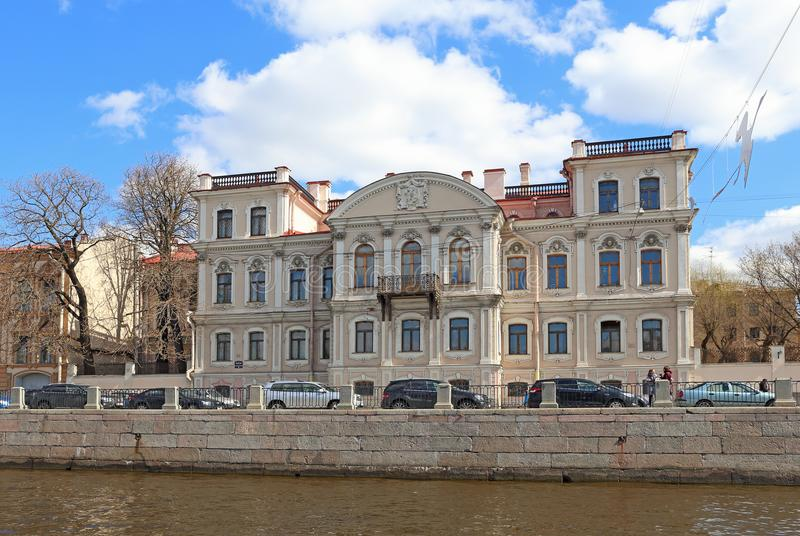 The mansion of Countess Karlova Memorial library of Prince Golitsyn. The Fontanka river embankment, St. Petersburg. Saint Petersburg, RUSSIA - MAY 07, 2017: the stock photography