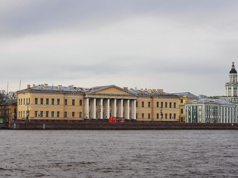 Saint-Petersburg, RUSSIA – May 1, 2019: Panorama view of the Center of Russian academy of science from the Neva river royalty free stock photography