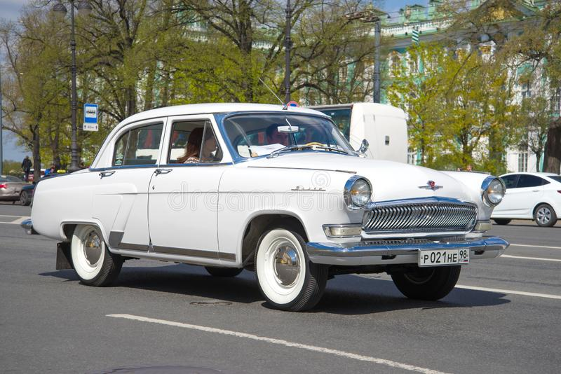 Retro car GAZ-21 `Volga` on a city street royalty free stock photos