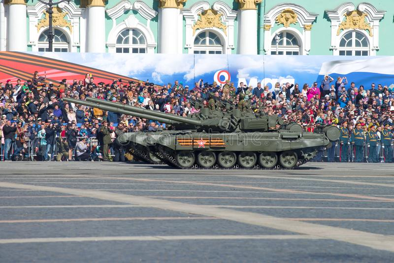 Two Russian T-72B3 tanks. SAINT-PETERSBURG, RUSSIA - MAY 06, 2018: Two Russian T-72B3 tanks on the dress rehearsal of the military parade in honor of the Victory royalty free stock photo