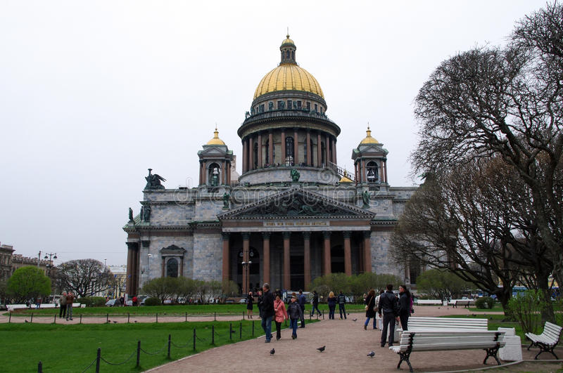 SAINT PETERSBURG, RUSSIA - MAY 01, 2014: View of Isaac's cathedral dome or Isaakievskiy Sobor. SAINT PETERSBURG, RUSSIA - MAY 01, 2014: the view of Saint Isaac's stock images