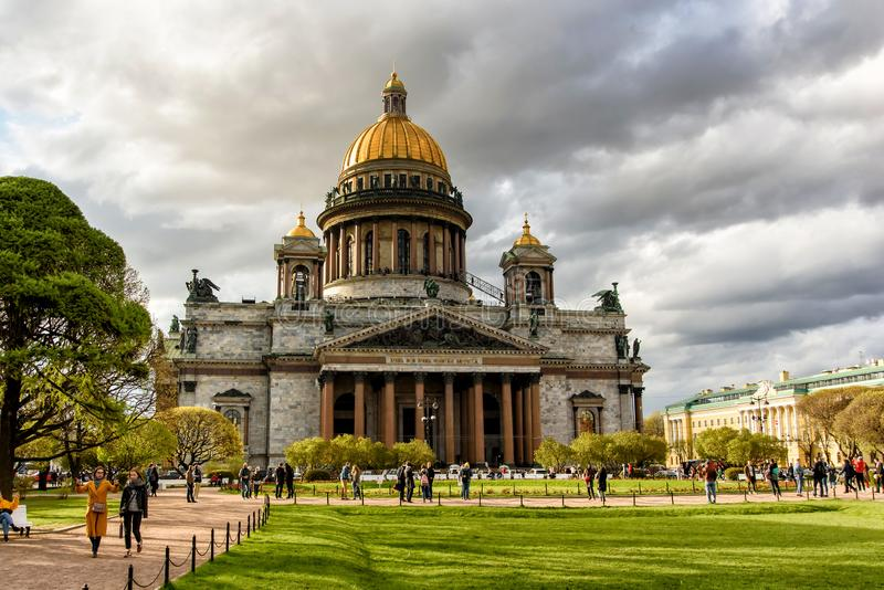 Saint-Petersburg, Russia, May 4, 2019 - View of St. Isaac Cathedral on St. Isaac square in spring stock images