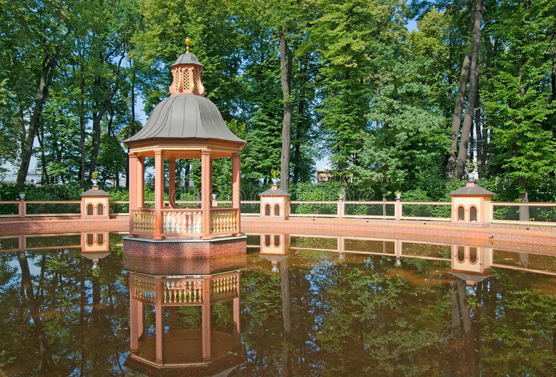 Saint-Petersburg. Russia. Menagerie Pond Bosquet. SAINT - PETERSBURG, RUSSIA - JULY 19, 2014: Menagerie Pond Bosquet in The Summer Garden. The Summer Garden royalty free stock photography