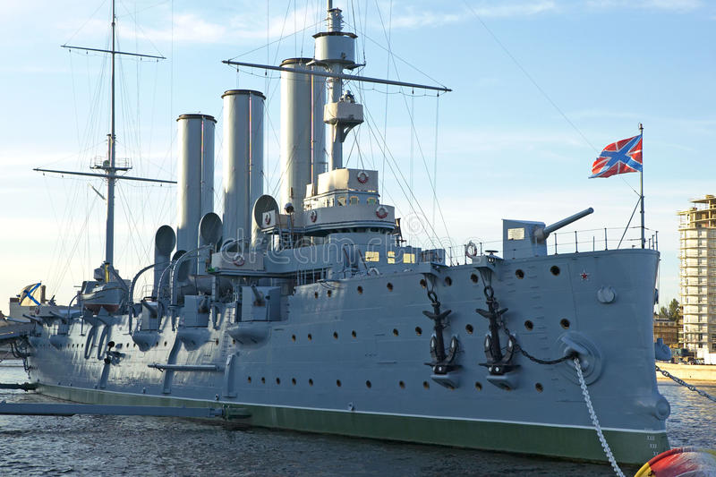 Saint Petersburg, Russia. Museum Battleship Aurora in Sankt Petersburg, Russian Federation stock image