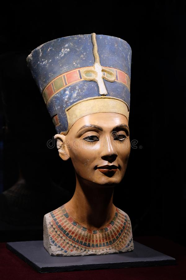 Nefertiti Bust statue, Egypt ancient, Egyptian Queen. Exhibition in the Peter and Paul Fortress stock images