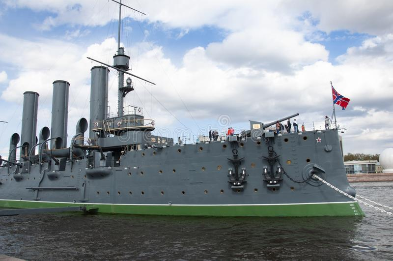 Saint Petersburg, Russia, Nevsky Avenue. May 10, 2019. cruiser Aurora Central part of the city. Walking streets in spring stock image