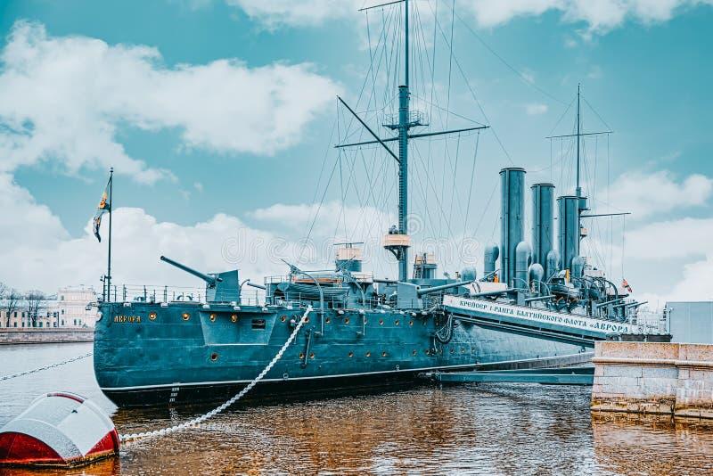 Cruiser Avrora in the Neva river, city Saint Petersburg. Russia. Saint Petersburg, Russia - November 08, 2019: Cruiser Avrora in the Neva river, city Saint stock photography