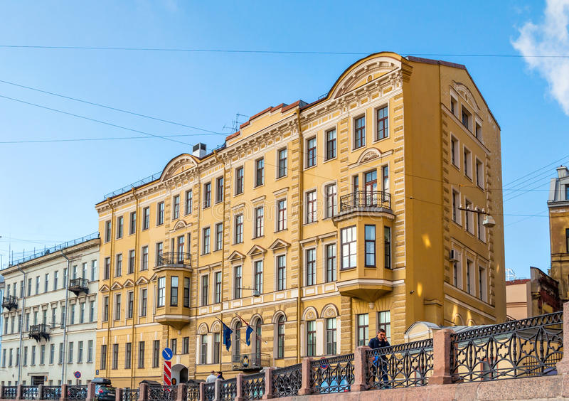 Consulate General of the Kingdom of the Netherlands in Saint Petersburg, Russia - building at Moika river embankment. SAINT PETERSBURG, RUSSIA -OCTOBER 3, 2016 stock image