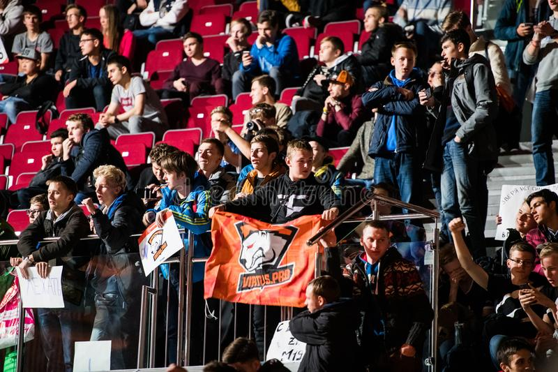 SAINT PETERSBURG, RUSSIA - OCTOBER 29 2017: EPICENTER Counter Strike: Global Offensive cyber sport event. Team virtus. Pro fans cheering for their favorite team stock images