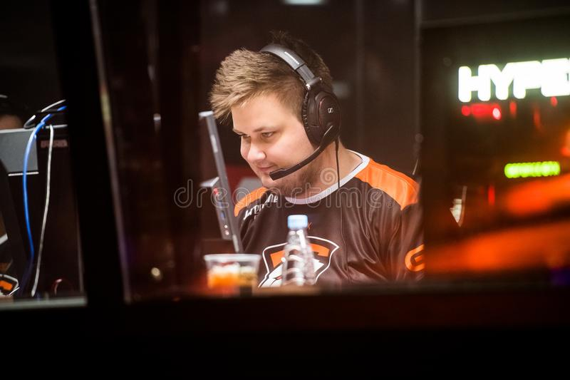 SAINT PETERSBURG, RUSSIA - OCTOBER 29 2017: EPICENTER Counter Strike: Global Offensive cyber sport event. Virtus. pro. Professional gamer at player`s cabin stock photography