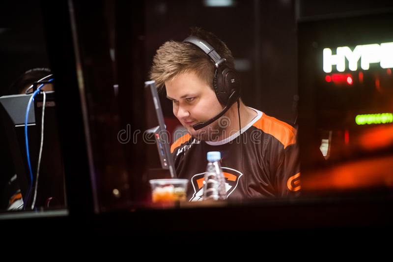 SAINT PETERSBURG, RUSSIA - OCTOBER 29 2017: EPICENTER Counter Strike: Global Offensive cyber sport event. Virtus.pro. Professional gamer at player`s cabin royalty free stock photos