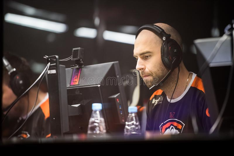 SAINT PETERSBURG, RUSSIA - OCTOBER 29 2017: EPICENTER Counter Strike: Global Offensive cyber sport event. Virtus.pro. Professional gamer at player`s cabin stock images