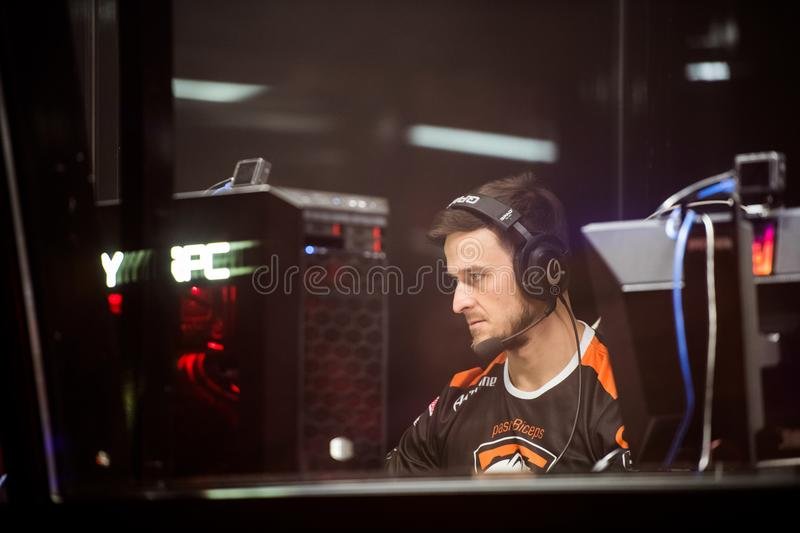 SAINT PETERSBURG, RUSSIA - OCTOBER 29 2017: EPICENTER Counter Strike: Global Offensive cyber sport event. Virtus.pro. Professional gamer at player`s cabin royalty free stock images