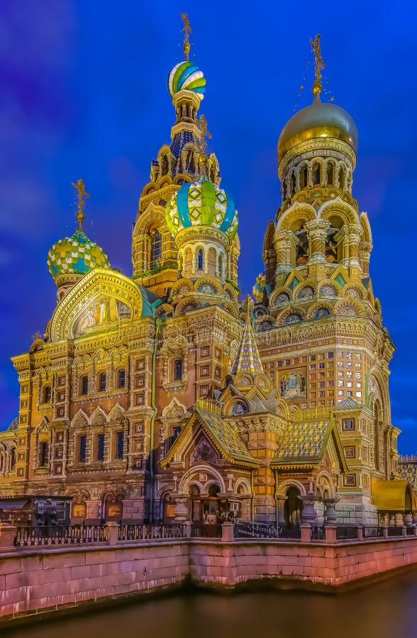 Ornate exterior of Church of Savior on Spilled Blood or Cathedral of Resurrection of Christ in Saint Petersburg, Russia at sunset. Saint Petersburg, Russia stock photography