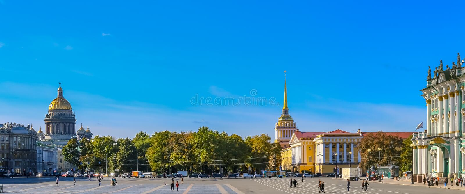 Palace Square in front of Winter Palace - Hermitage in Saint Petersburg, Russia. Saint Petersburg, Russia - October 05, 2015: Panoramic view of Palace Square in royalty free stock image