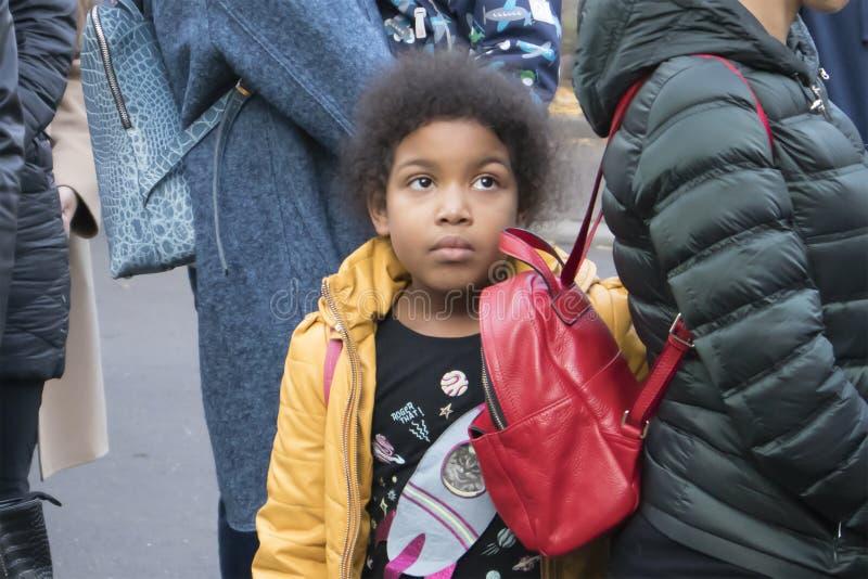 Portrait of cute dark-skinned teenage girl royalty free stock photo