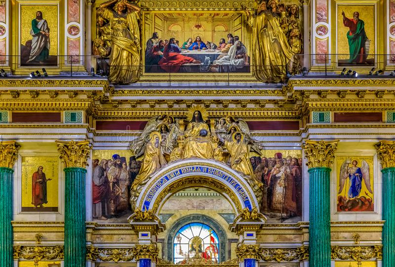 Ornate interior, marble columns and colorful icons in the Saint Isaac`s Russian Orthodox Cathedral in Saint Petersburg, Russia. Saint Petersburg, Russia stock photo