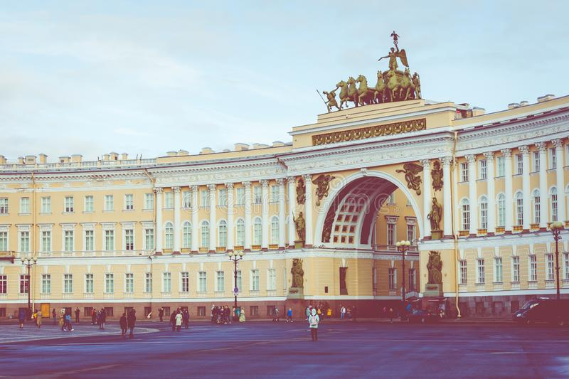 SAINT PETERSBURG, RUSSIA - SEPTEMBER 17, 2019: Palace square Dvortsovaya square in front of the General Staff Building, Saint. Petersberg, Russia royalty free stock photography