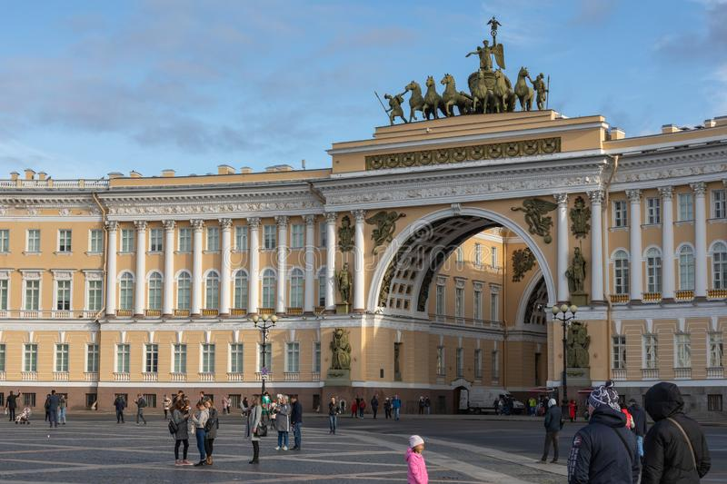 SAINT PETERSBURG, RUSSIA - SEPTEMBER 17, 2019: Palace square Dvortsovaya square in front of the General Staff Building, Saint. Petersberg, Russia royalty free stock photos