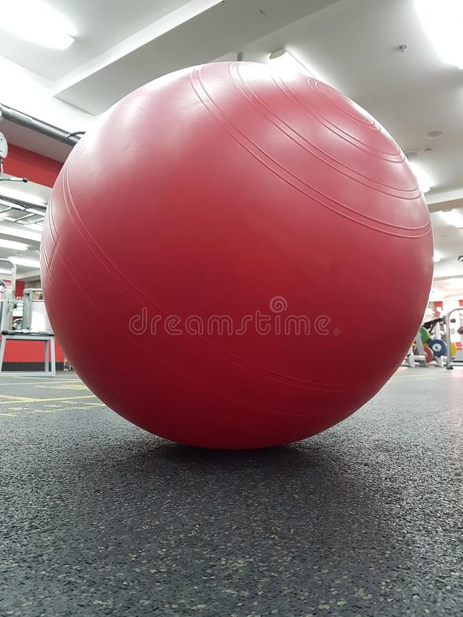 SAINT-PETERSBURG, RUSSIA:Sport equipment.Red fitball in the worldclass Saint-Petersburg, Russia at July 18, 2018 royalty free stock image