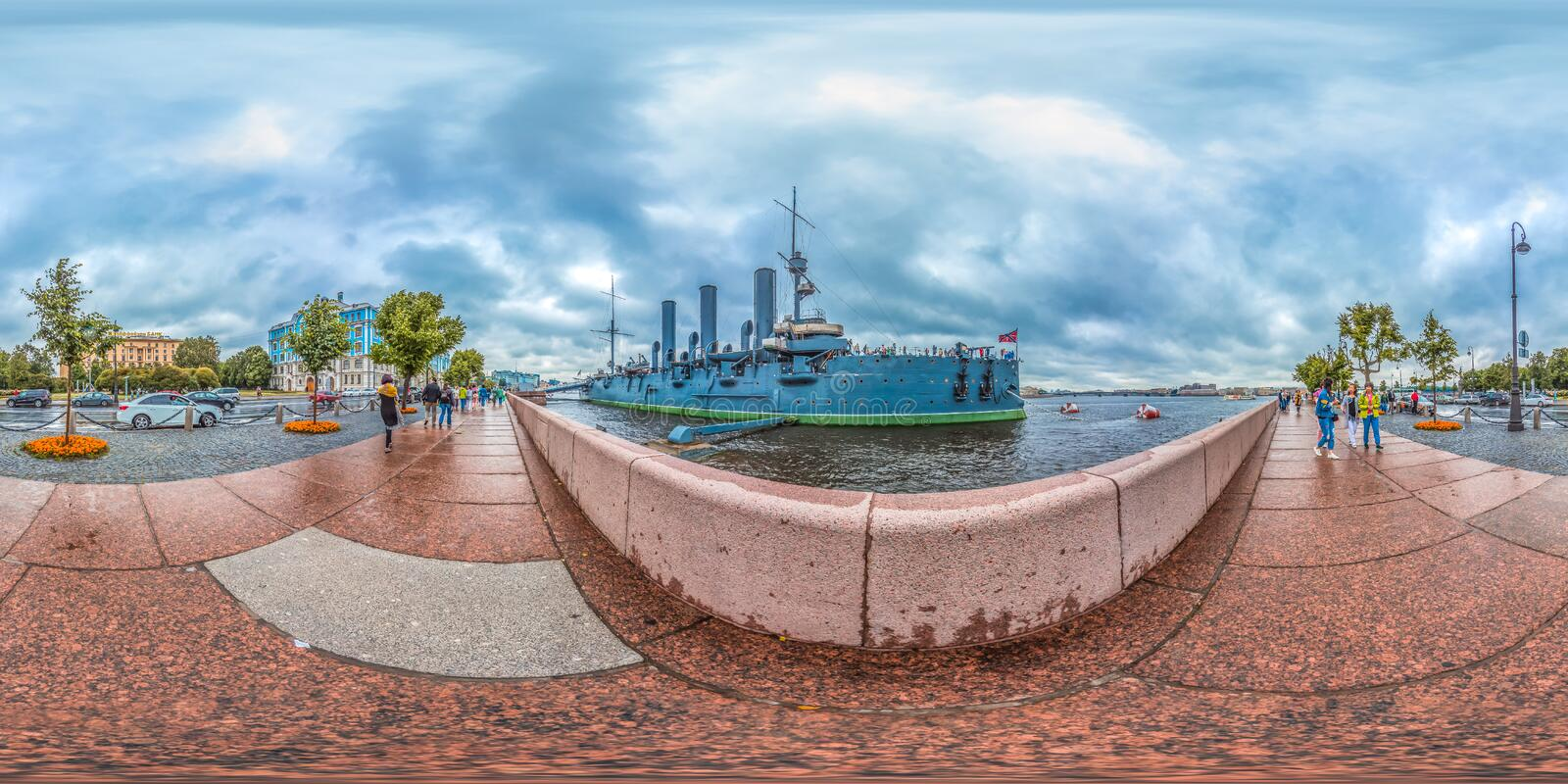 Saint-Petersburg - 2018: Russian cruiser Aurora. White nights. Blue sky. 3D spherical panorama with 360 viewing angle. Ready for v stock photos