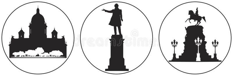 Saint-Petersburg Russian landmark vector icon set 2 stock illustration