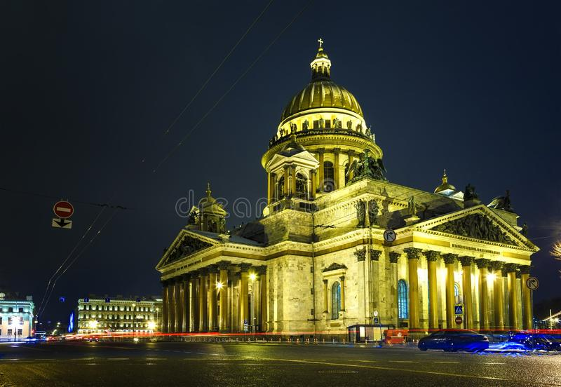 Saint Petersburg. Saint Isaac`s Cathedral. night in Petersburg Night city. Streets in Petersburg. Russia. St. Isaac`s Cathedral stock photos