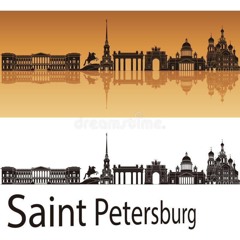 Saint Petersburg skyline in orange background stock illustration