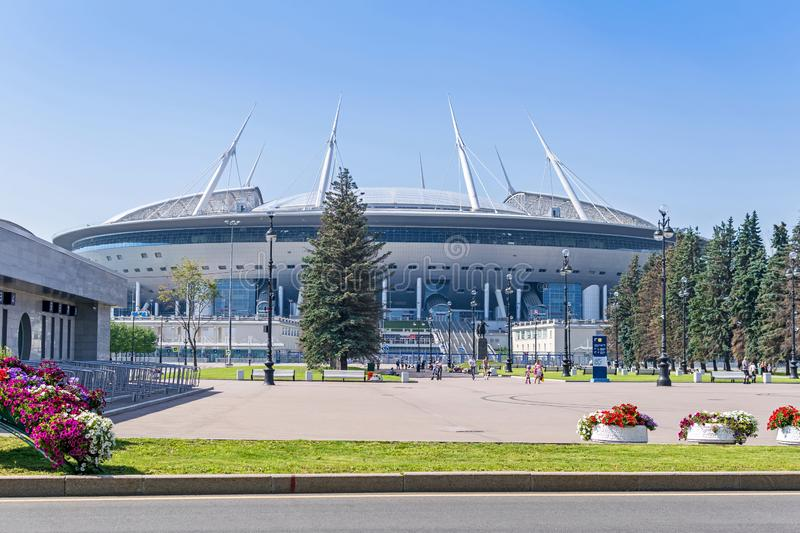 Saint Petersburg Stadium or Gazprom Arena in Saint Petersburg, Russia. Saint Petersburg, Russia -  July 27, 2019: Gazprom Arena or Zenit Arena, all-weather and stock images