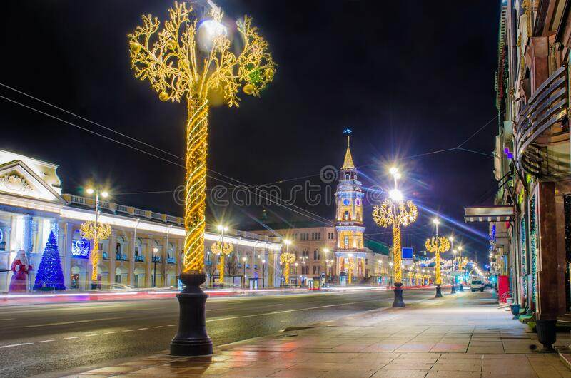 Saint Petersburg streets with Christmas illumination on Nevsky Prospect at night stock photos
