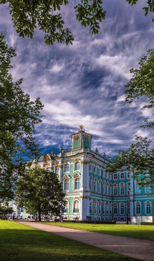 Saint Petersburg winter palace under blue sky royalty free stock image