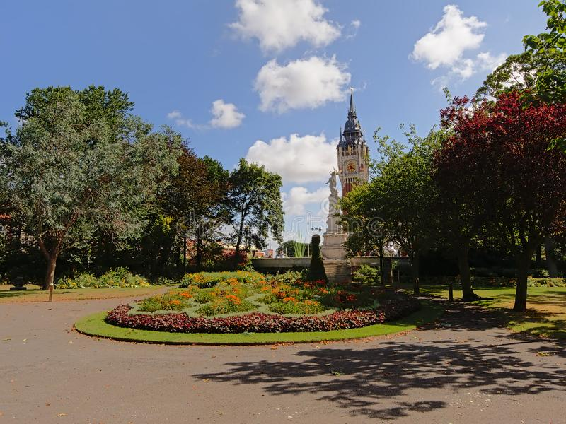 Saint Piere park, Calais, with Belfrey tower in the background stock photo
