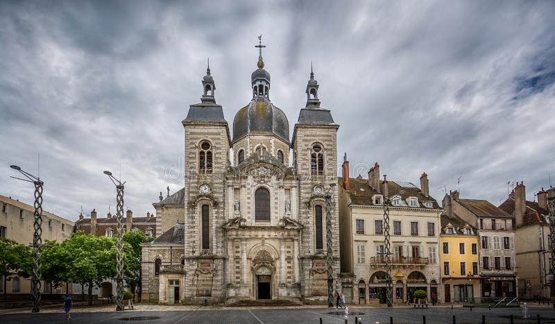 Saint Pierre baroque church in town hall square, Chalon sur Saone, Burgundy, France. On 11 June 2016 royalty free stock image