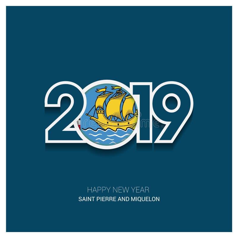 2019 saint pierre i Miquelon typografia, Szczęśliwy nowy rok Backgr royalty ilustracja