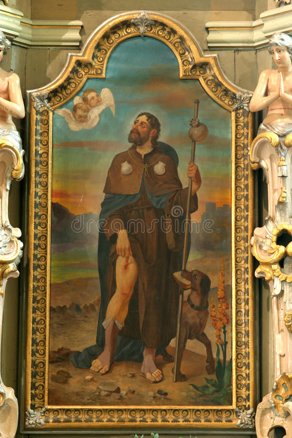Saint Roch. Was a Christian saint, a confessor whose death is commemorated on 16 August; he is specially invoked against the plague royalty free stock images