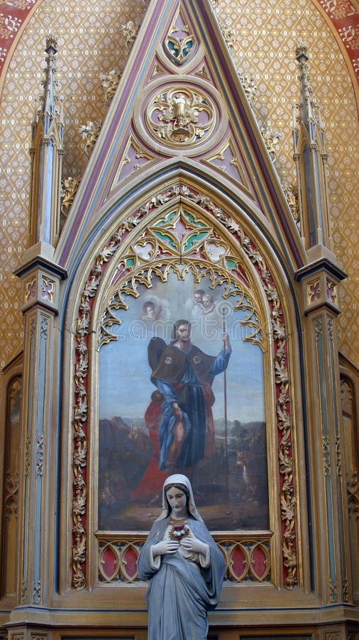 Saint Roch altar in Church of Saint Peter in Velesevec, Croatia. Saint Roch altar in the Parish Church of Saint Peter in Velesevec, Croatia royalty free stock photos