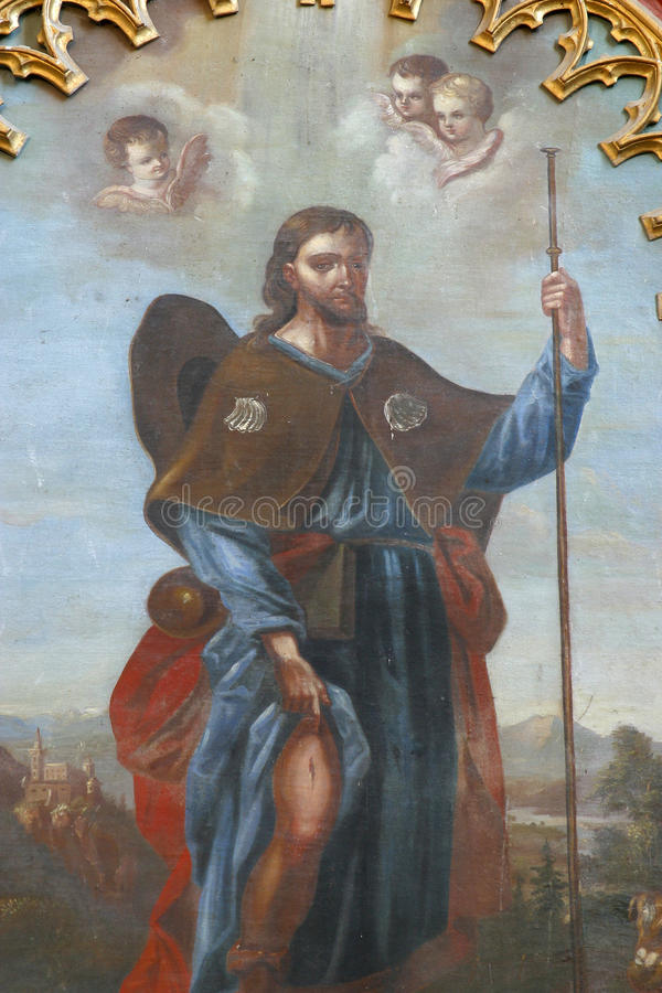 Saint Roch. Altarpiece in the Parish Church of Saint Peter in Velesevec, Croatia royalty free stock photography