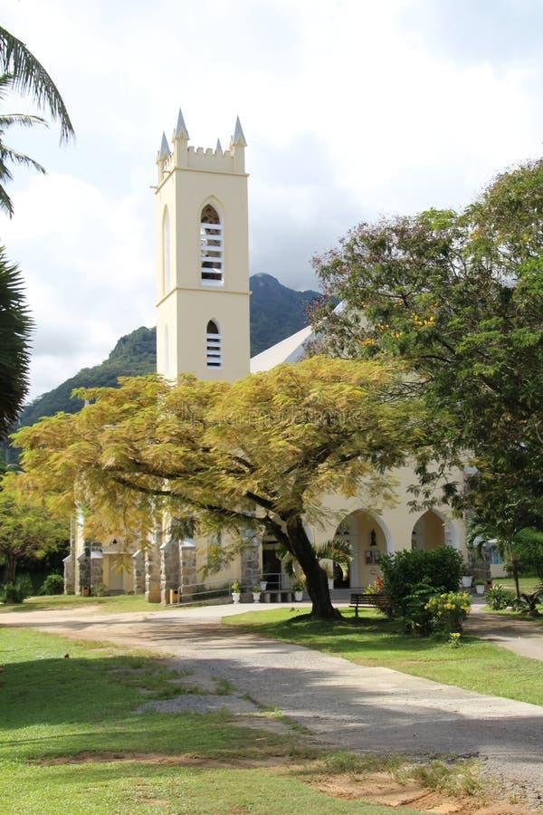 Saint Roch church. In Beau Vallon on Mahe Island in the Seychelles stock photos