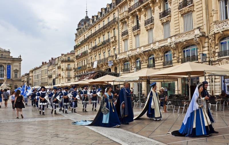Saint Roch Day procession. Saint Roch Day (August 16th) procession through the Place de la Comédie, Montpellier, France royalty free stock images